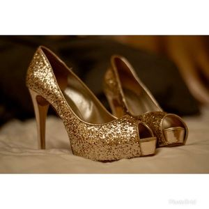 Worn Once - Guess Open-Toe Gold Stilettos